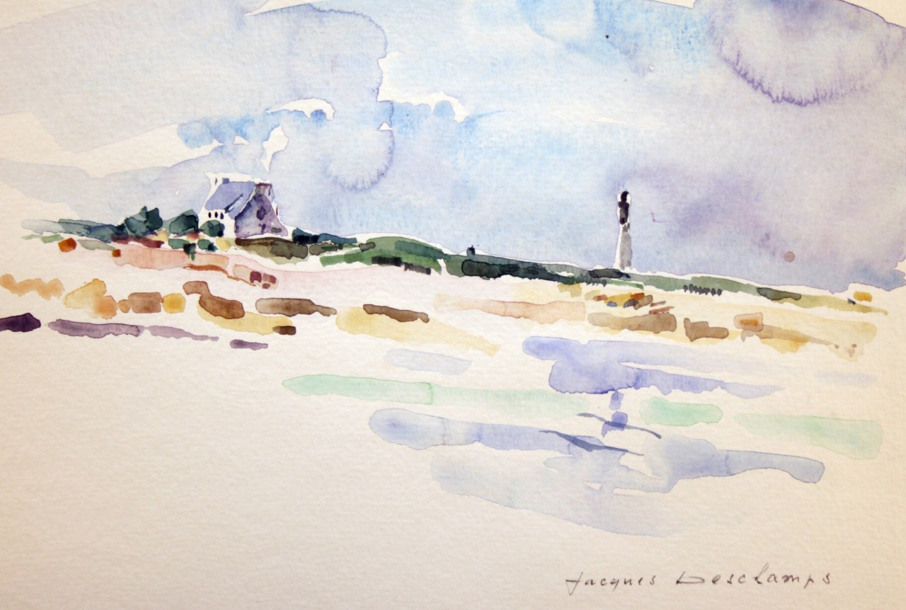 Artwork picture : Jacques Deschamps, Phare au ciel mauve