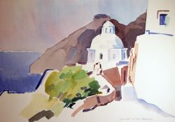 Artwork preview : Watercolors, L'église devant la montagne