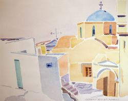 Artwork preview : Watercolors, Deschamps : Ruelle et église