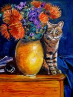 Artwork preview : le chat au bouquet