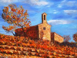 Artwork preview : Oil Painting, chapelle dans les vignes