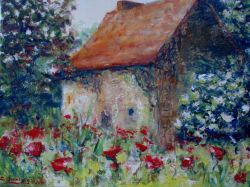 Artwork preview : Oil Painting, maisonnette coquelicots
