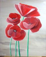 Artwork preview : Acrylic, 4 coquelicots