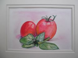 Artwork preview : Watercolors, Toublanc : tomates et basilic