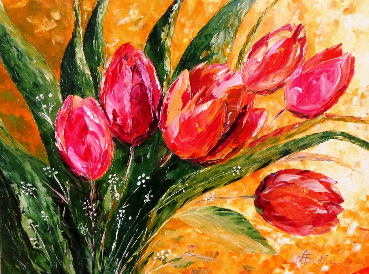Artwork picture : Amalia Suruceanu, Red Tulips